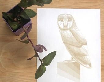 WISE GUY | Geometric Animal Print, Laser Etched Art Print