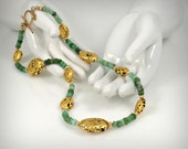 Gold With Chrysoprase Necklace, 23-Karat Gold Leaf on Lava Stone, Designer's Signature Tag, 20""