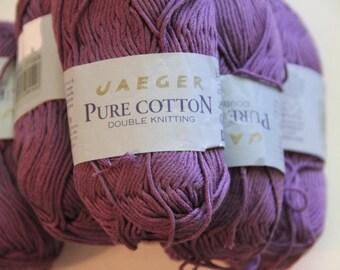 6 skeins Jaeger pure cotton yarn, purple double knitting, destash yarn