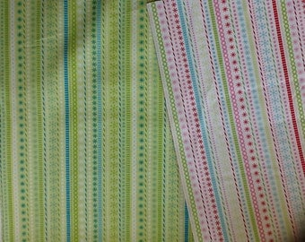 Riley blake snowflake stripe design in white or green by the half metre 100% cotton