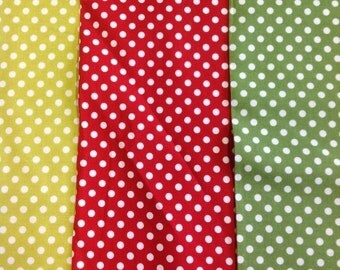 Michael miller dot to dot fabric 100% cotton in lime, red or green by the half metre
