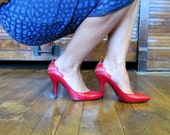 Vtg 80s Hot Sweetheart Heels / Size 7 / Red Leather