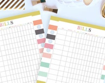 Bill Tracker - Printable Planner Insert - Personal Size Printable Pages (3.7in x 6.7in) - Instant Download