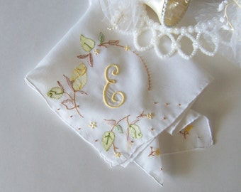 Bride's Vintage Wedding Hanky Monogrammed E Handkerchief in Off White Something Old in Fall Colors