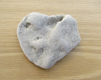 """Natural Heart Shaped Stone. Unique Sculptured Beach Art """"Smiley Happy"""" Face Rock Collection. Mixed Media Art Rocks Supply"""
