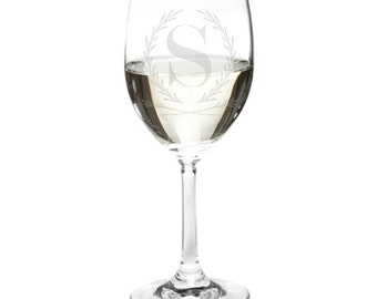 Etched Monogram Wine Glass