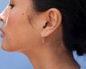 Tiny 14 Karat Gold Fill Line Earring- Gold Fill Chain bar Earring-  Chain Gold Bar Stud- Yellow gold bar earring