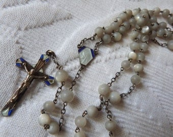 Antique French religious mother of pearl beaded catholic rosary necklace w enamel crucifix cross miraculous medal w holy virgin Mary, Jesus