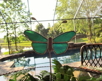 Stained Glass Butterfly Plant Stake in Teal and White Wispy Glass -  Unique Gift Idea/Memorial Marker/ Garden Marker