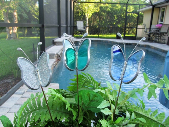 Special Order for Kelsey - Stained Glass Two Piece Butterfly Garden Plant Stakes - Quantity of (3)
