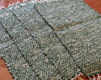 Four Green Flower handwoven Placemats, Table Mats, Place Setting, Mat
