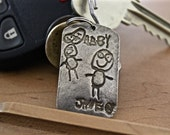 Father's Day Keychain - Child's Drawing Artwork Keychain - Keychain for Fathers or Mothers - Actual drawing artwork keychain