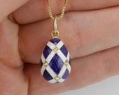"""18K Yellow Gold over Sterling Silver Purple and White Enamel Swarovski Crystal Pendant with Chain 18"""" Faberge Style Egg"""