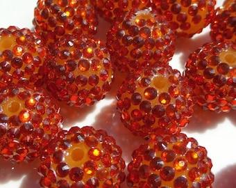 20mm, 10CT, Orange Rhinestone Bubblegum Beads, G28