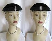 Vintage 1950s Hat Made in France Black Velvet, Satin and Rhinestone
