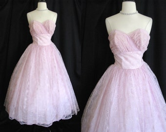 True Vintage 1950s Dress w/ Bolero Jacket -  Cupcake Formal  Lilac Pink Tulle w/ Embroidery XS