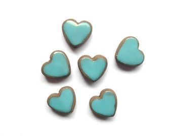 Turquoise Heart Charm Bead Handmade Ceramic Turquoise on Chocolate  Clay X 1