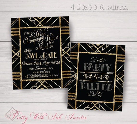 gatsby roaring 20s save the dates  customize color font