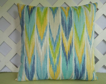 Ikat Outdoor Pillow Cover in Turquoise Blue Yellow Green White /Patio or Deck Pillow Cover
