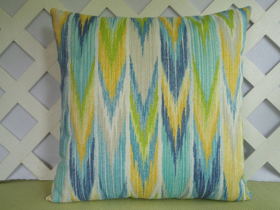 Ikat Outdoor Pillow Cover In Turquoise Blue Yellow Green White