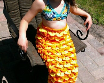 "FREE SHIPPING - Crochet ""Scaly"" Orange/Yellow Mermaid Tail/Fin Costume - Mermaid Photo Prop - In Size: 6/7yrs"