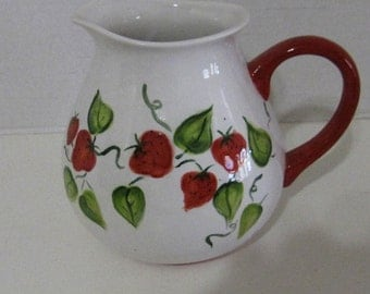 Ceramic Hancraft Straberry Pitcher
