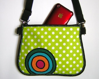 Hip bag cheerful appearance Belt Wallet small tote Sling Purse belt bag mini Crossbody Bag fabrics lime white dots with rainbow circles