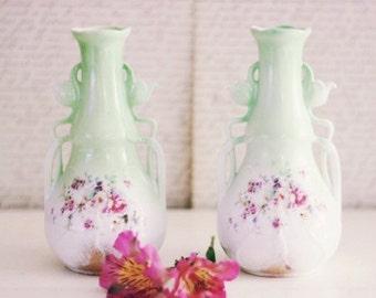 Vintage Pair of Porcelain Cottage Chic Floral Mint Green Vase