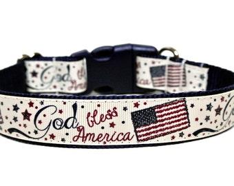 """America Dog Collar 1"""" July Dog Collar"""