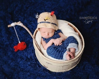 Newborn Boy Little Fisherman Hat Fish Pole Set - Newborn Size - Photo Props