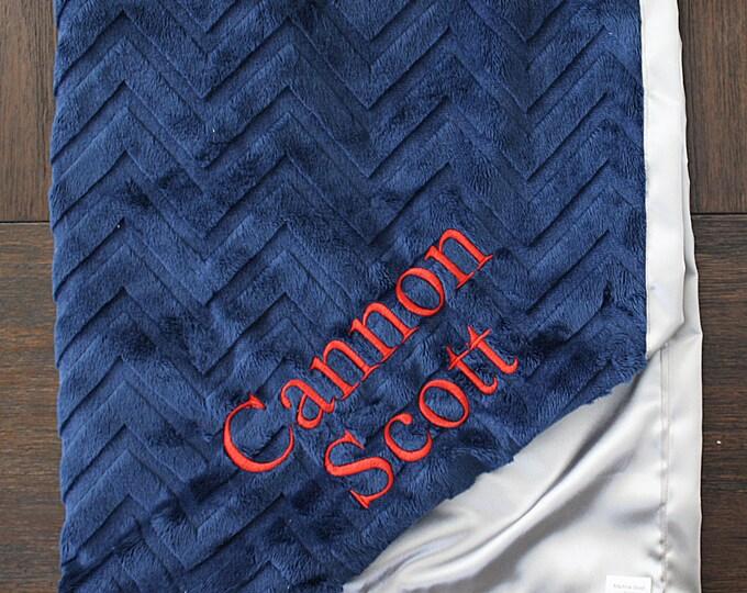 Minky blanket, embroidered blanket, personalized blanket, graduation gift, navy blue, chevron blanket, satin and minky, custom blanket