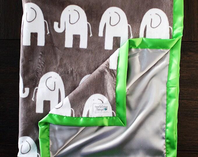 Baby Blanket, Elephant Blanket, Elefante, Grey and Green, silky blanket, Baby Boy, Child Minky, lime green Woobie soft blanket, baby gift