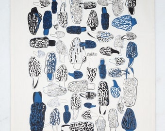 Morels Tea Towel - Indigo
