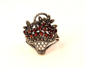 Sterling Silver Garnet Marcasite Flower Basket Ring Size 5.75