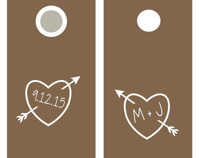 Wedding Cornhole Decals | Carved Heart Personalized Wedding Decor | Rustic Wedding