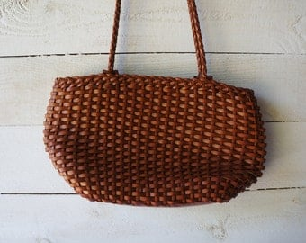 Vintage Leather Bag, Woven, Braided Straps- Free Shipping