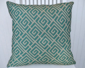 Aqua and White Geometric Pillow Cover-  18x18 or 20x20 or 22x22 Decorative Throw Pillow- Accent Pillow, Lumbar Pillow