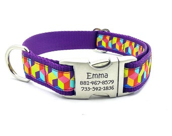 3D BLOCKS Dog Collar with Laser Engraved Personalized Buckle - YELLOW