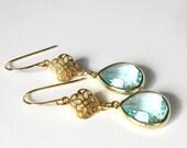 Aqua Earrings, March Birthstone, Gift for Her, Modern Jewelry, Gold Dangle Earrings