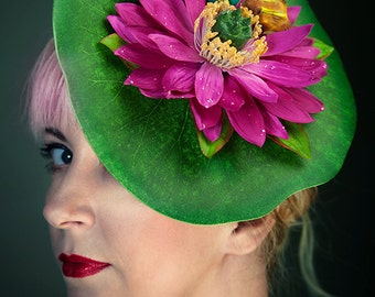 Quirky Pink Lily Pad Fascinator with Frogs
