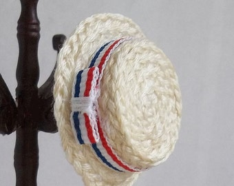 Straw Boater Hat with Patriotic Band for 1:12 Scale Dollhouse Miniature Gentleman or Barbershop Quartet