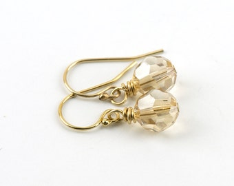 Simple Crystal Gold Earrings | Wedding Jewelry for Bridesmaids | 14k Gold Filled Crystal Earrings EG95D