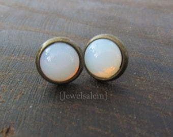 Opal Earrings Studs Tiny Gold Post White Moonstone Glass Wedding Bridal Bridesmaids Gift Earrings Set Vintage Dreamy Soft Something Old