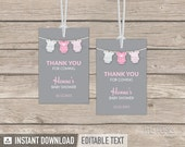 Pink Baby Shower, bodysuit theme  - Thank you Tags - Favor labels - Girl Baby Shower - INSTANT DOWNLOAD - Printable PDF with Editable Text