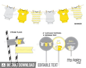 Yellow Baby Shower Party Pack, bodysuit theme - Gender Neutral Baby Shower - INSTANT DOWNLOAD - Printable PDF with Editable Text