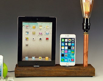 Docking stations and chargers for ANY iPhone/iPad AND table lamp. Reclaimed wood & copper pipe. Edison bulb. USB wall charger.  (761)
