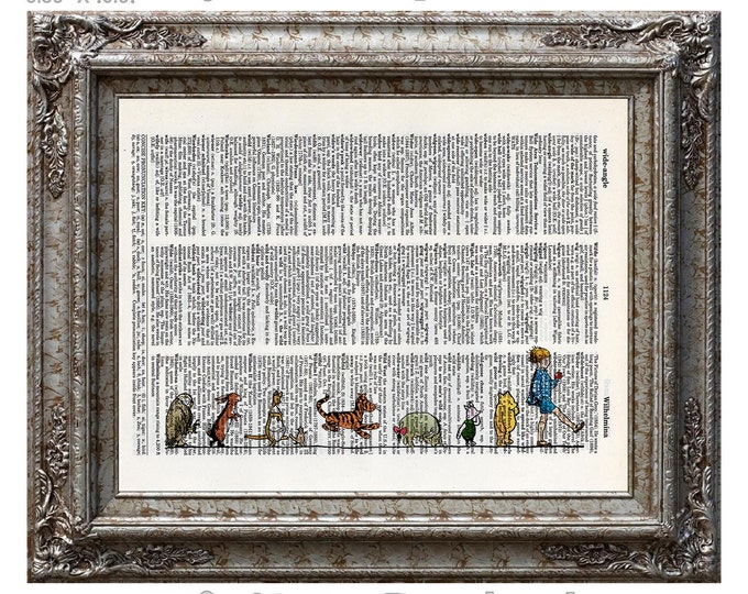 Winnie the Pooh and Friends 2 Classic Pooh Nursery on Vintage Upcycled Dictionary Art Print Book Art Print Disney Piglet Tigger Eeyore