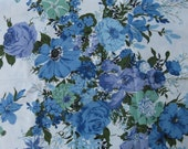 vintage floral decorator fabric blue floral fabric mcm 1 yard 32 inches 24 inches wide cottage