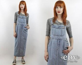 Vintage 90s Jean Maxi Denim Overalls Dress S M 90s Overalls Dress 90s Maxi Dress Jean Overalls 90s Denim Dress Denim Maxi Dress