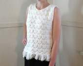 60s Crochet Sweater / Summer Top / White Lacy Fringe Mod Mad Men / Tank Top / Small / Sleeveless